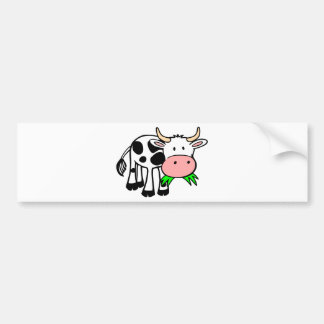 Cartoon Cow Chewing Grass Bumper Sticker