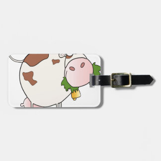Cartoon cow eating grass bag tag