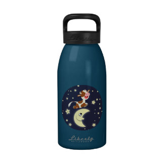 Cartoon Cow Jumped Over The Moon 16oz Water Bottle