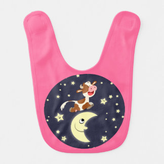 Cartoon Cow Jumping Over The Moon Baby Bib