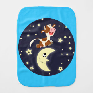Cartoon Cow Jumping Over The Moon Burp Cloth