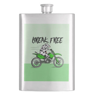 Cartoon cow riding a motorbike hip flask