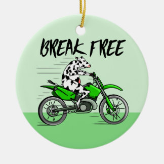 Cartoon cow riding a motorbike round ceramic decoration