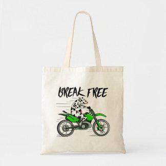 Cartoon cow riding a motorbike tote bag