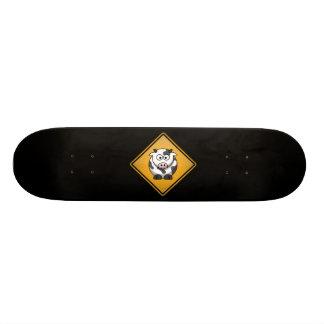 Cartoon Cow Warning Sign 20.6 Cm Skateboard Deck
