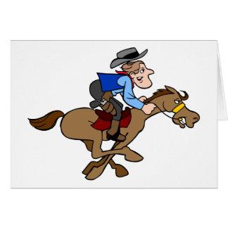 Cartoon Cowboy Gallops Fast Horse Card