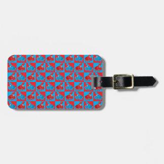 Cartoon crab mosaic luggage tag