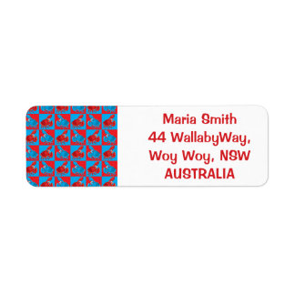 Cartoon crab mosaic return address label