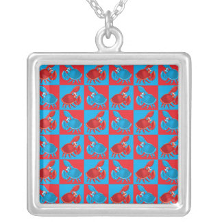 Cartoon crab mosaic silver plated necklace