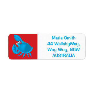 Cartoon crab return address label