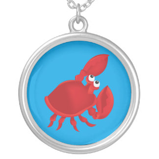 Cartoon crab silver plated necklace