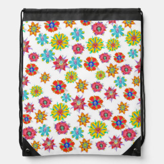 Cartoon creatures in flowers, on a bag. drawstring backpack