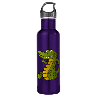 Cartoon crocodile. 710 ml water bottle