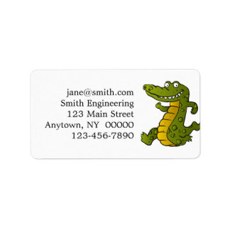 Cartoon crocodile. address label