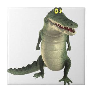 Cartoon Crocodile Small Square Tile