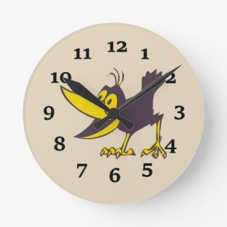 Cartoon Crow Round Clock