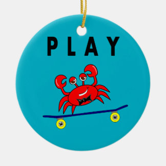 Cartoon Cute Crab on Skateboard Image Ceramic Ornament