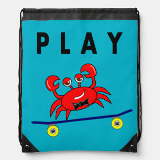 Cartoon Cute Crab on Skateboard Rucksack