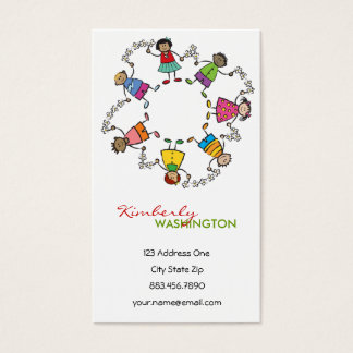 Cartoon Cute Happy Kids Friends Around The World Business Card