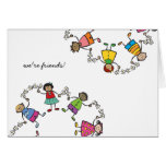 Cartoon Cute Happy Kids Friends Around The World Note Card