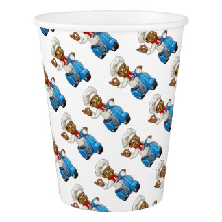 Cartoon Delivery Moped Chef Paper Cup
