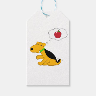Cartoon Design Airedale Dog Thinking of an Apple Gift Tags