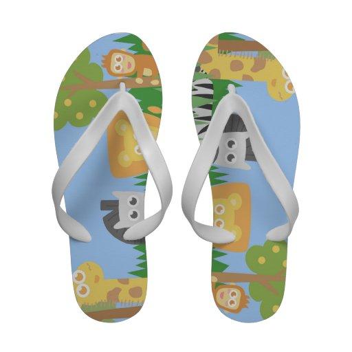 Cartoon design of cute and colorful safari animals Flip-Flops