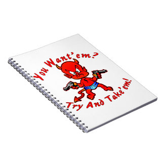 Cartoon Devil Pistol Shooter You Want'em Try Spiral Notebook