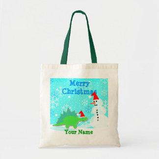 Cartoon Dinosaur Snowman Merry Christmas Gift Bag