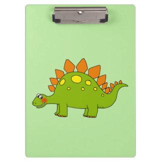 cartoon dinosaur stegosaurus clipboard