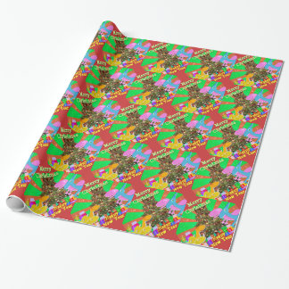 Cartoon Dinosaurs by the Christmas Tree Wrapping Paper