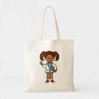 Cartoon Doctor Female with Clipboard and Needle Tote Bag