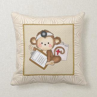 Cartoon Doctor Monkey Fun Throw Pillow