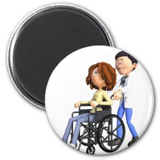 Cartoon Doctor Wheeling Patient In Wheelchair 6 Cm Round Magnet