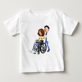 Cartoon Doctor Wheeling Patient In Wheelchair Baby T-Shirt