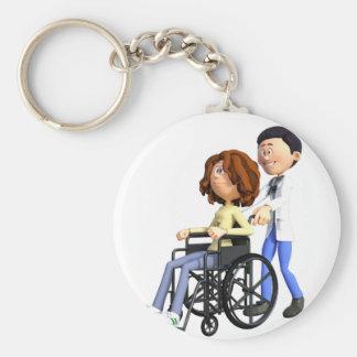 Cartoon Doctor Wheeling Patient In Wheelchair Basic Round Button Key Ring