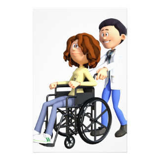 Cartoon Doctor Wheeling Patient In Wheelchair Customised Stationery