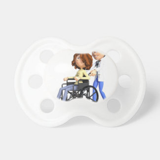 Cartoon Doctor Wheeling Patient In Wheelchair Dummy