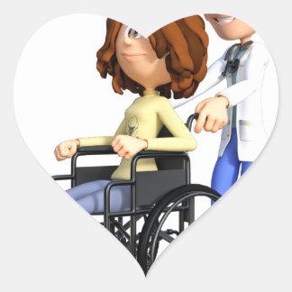 Cartoon Doctor Wheeling Patient In Wheelchair Heart Sticker