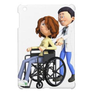 Cartoon Doctor Wheeling Patient In Wheelchair iPad Mini Case