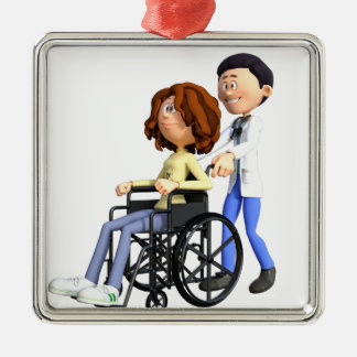 Cartoon Doctor Wheeling Patient In Wheelchair Metal Ornament