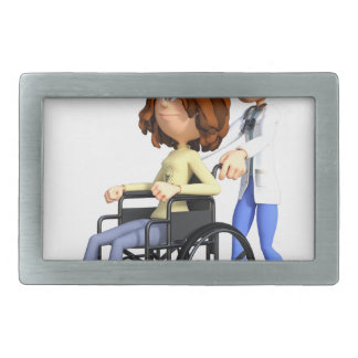 Cartoon Doctor Wheeling Patient In Wheelchair Rectangular Belt Buckle