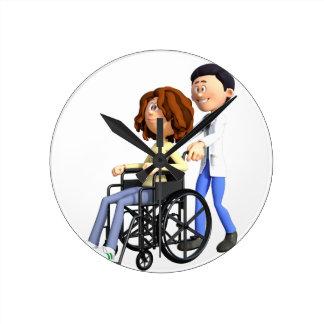 Cartoon Doctor Wheeling Patient In Wheelchair Round Clock