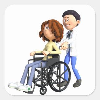 Cartoon Doctor Wheeling Patient In Wheelchair Square Sticker