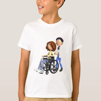 Cartoon Doctor Wheeling Patient In Wheelchair T-Shirt