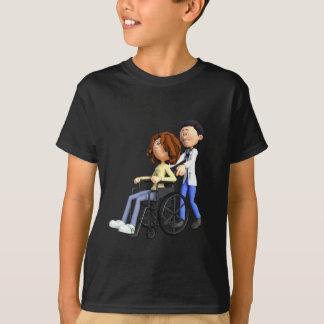 Cartoon Doctor Wheeling Patient In Wheelchair T-Shirt