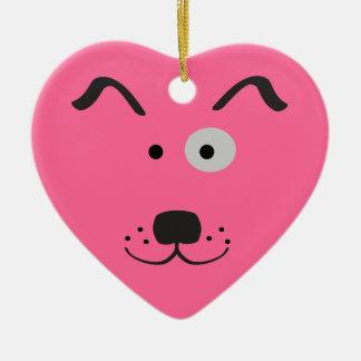 Cartoon Dog Face Illustration Ceramic Heart Decoration