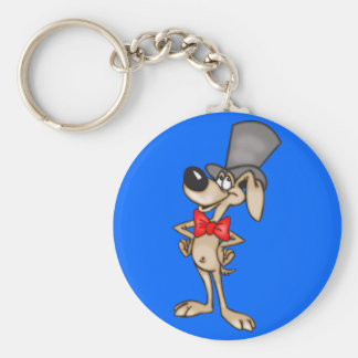 Cartoon Dog in Top Hat Basic Round Button Key Ring