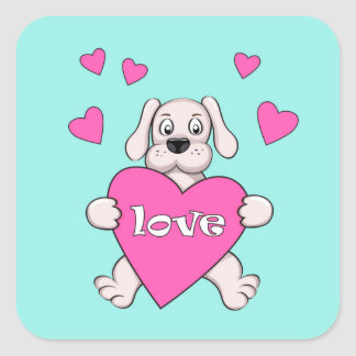 cartoon dog keeping pink heart with love square sticker