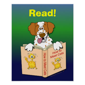 Cartoon Dog Read Funny School Educational Reading Poster